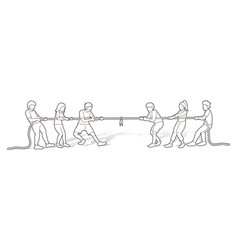 children playing tug war cartoon graphic vector image