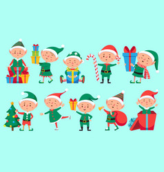 Christmas elf character cute santa claus helpers vector