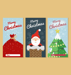 christmas greeting card set merry christmas text vector image