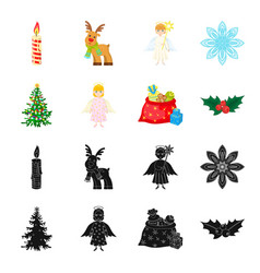 christmas tree angel gifts and holly black vector image