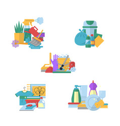 cleaning flat icons piles set vector image