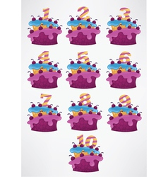 Collection of birthday cakes and numbers vector