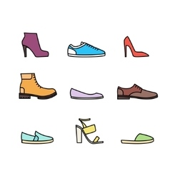Color linear shoes icon set vector image