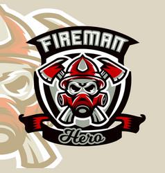 colorful logo emblem sticker fireman vector image