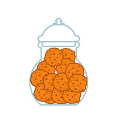 Cookies in jar isolated oatmeal cookie in glass vector