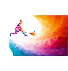 Creative silhouette female tennis player vector