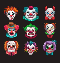 Creepy clown faces set scary circus elements vector