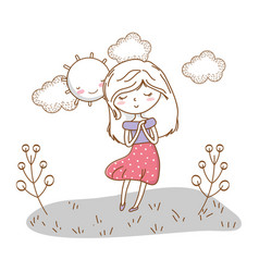 cute girl cartoon stylish outfit dress nature vector image