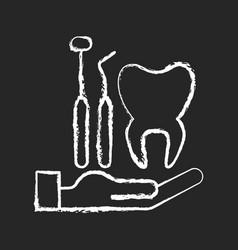 Dental insurance chalk white icon on black vector