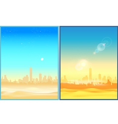 Desert morning and afternoon vector image