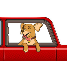 dog in car window pop art vector image