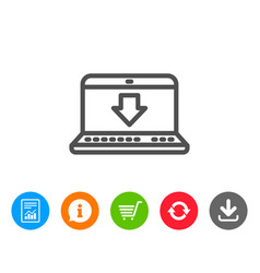 download line icon internet downloading sign vector image