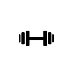 Dumbbell weights symbol or exercise icon in black vector