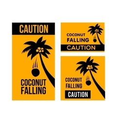 Falling coconuts caution vector image