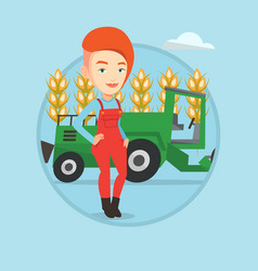 Farmer standing with combine on background vector