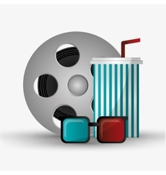 Film reel cinema and movie design vector image