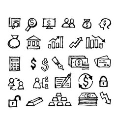 financial icon doodle hand drawn vector image