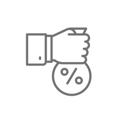Fixed interest rate hand with money bag line icon vector