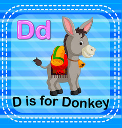 Flashcard letter d is for donkey vector
