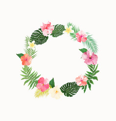 Flowers wreath floral tropical collection with vector