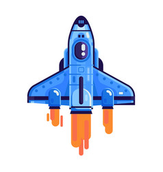 Flying space shuttle isolated icon vector