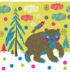 forest animals screenprint vector image
