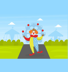 Funny circus clown juggling comedian performance vector