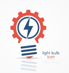 gear light bulb idea icon with electricity sign vector image