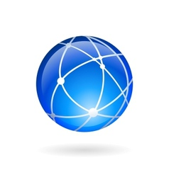 Global technology or social network emblem vector image