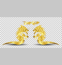 gold dragon silhouette on transparent background vector image