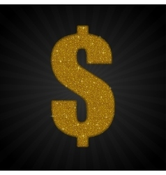 Gold Golden Sequin Dollar USD Money Label vector