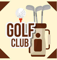 golf clubs in bag ball equipment vector image
