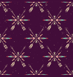 grunge seamless pattern with crossed ethnic vector image