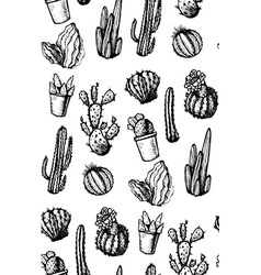 Hand Drawn Isolated Cactuses Seamless Pattern vector