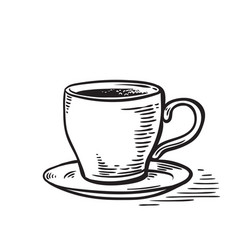 hand drawn sketch black and white cup of tea vector image