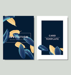 hand drawn tropical golden and blue guava leaves vector image