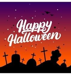 happy halloween hand written lettering card vector image