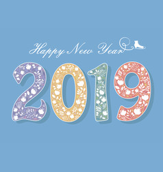 Happy new year 2019 flowers and skate vector