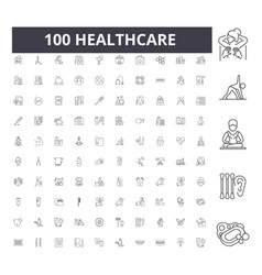 healthcare line icons signs set outline vector image