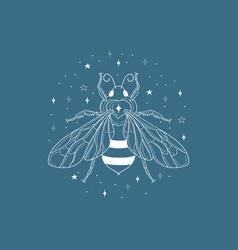 honey bee and logo design element vector image