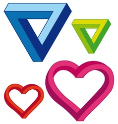 infinite heart and triangle set vector image