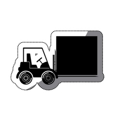 Isolated delivery forklift and package design vector