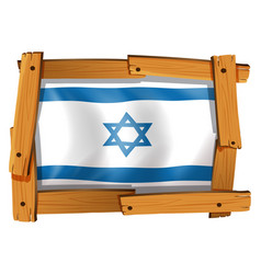 Israel flag design on square badge vector