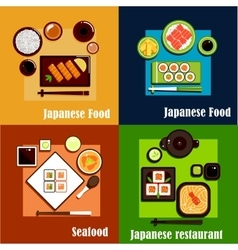 Japanese national seafood cuisine dishes vector image