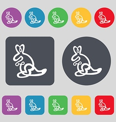 Kangaroo Icon sign A set of 12 colored buttons vector