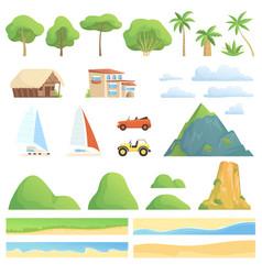landscape constructor rivers gardens houses vector image