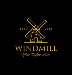 Line art windmill logo designs classic and luxury vector