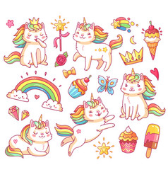 Magic unicorn cats in crown sweet cupcakes ice vector