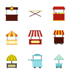 Market stall icon set flat style vector