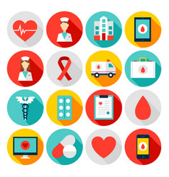 medicine health flat icons vector image